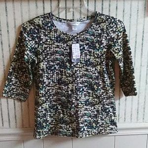 NWT Christopher & Banks Abstract Top Petite S